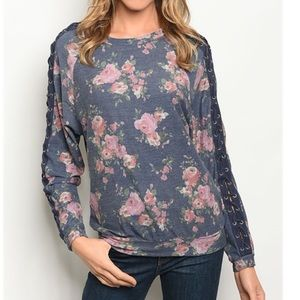 Navy Floral Lace Up Sweatshirt